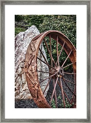 Old Tractor Wheel Framed Print