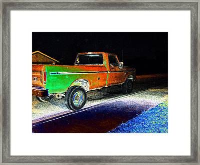 Old Truck At Night Framed Print