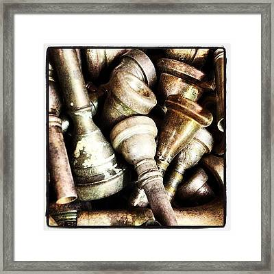 Old Trumpet Mouthpieces 1 Framed Print