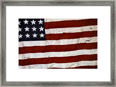 Old Usa Flag Framed Print by Carlos Caetano