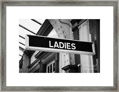 Old Victorian Sign For The Ladies Toilet In Weymss Bay Railway Station Scotland Uk Framed Print by Joe Fox