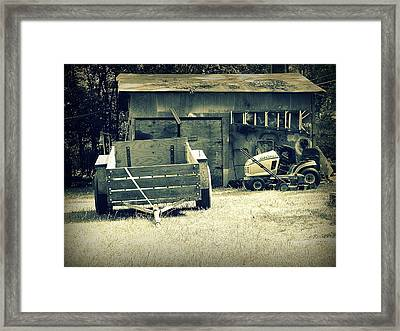 Framed Print featuring the photograph Old Wagon And Old Shed by Ester  Rogers