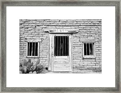 Old Western Jailhouse In Black And White Framed Print