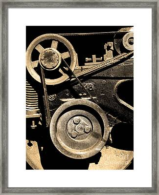 Old Western Pacific Caboose Train Wheel . 7d10626 . Sepia Framed Print by Wingsdomain Art and Photography