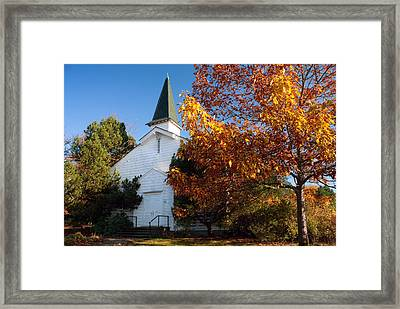 Old White Church In Autumn Framed Print by Stacey Lynn Payne