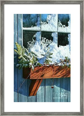 Old Window In Winter Framed Print