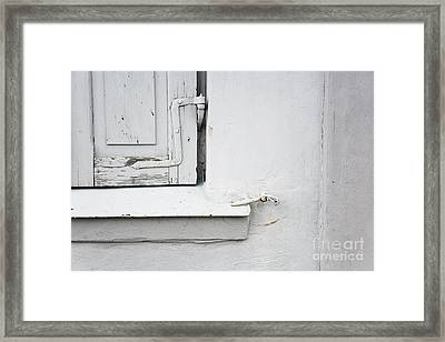 Framed Print featuring the photograph Old Window Shutters Detail by Agnieszka Kubica