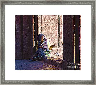 Framed Print featuring the digital art Old Woman In Centro by John  Kolenberg