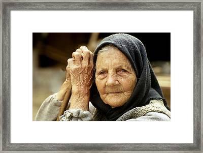 Old Woman In Vrancea Romania Framed Print