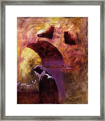 Framed Print featuring the painting Old Woman Lighting Candles In Cathedral In Purple And Yellow  by MendyZ M Zimmerman