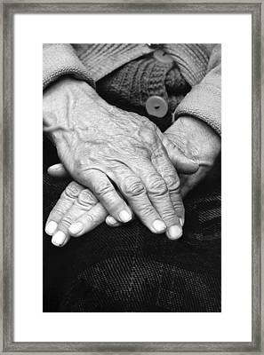 Old Woman's Hands Framed Print by Emanuel Tanjala