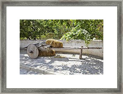 Old Wooden Cart In The Shade Framed Print