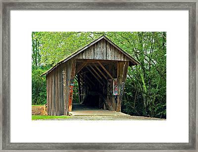 Old Wooden Covered Bridge Framed Print by Susan Leggett