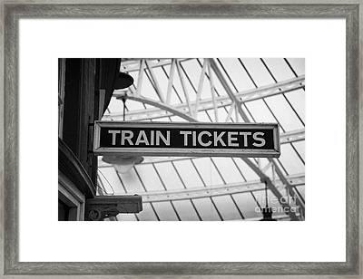 Old Wooden Sign For Train Tickets In Weymss Bay Railway Station Scotland Uk Framed Print by Joe Fox