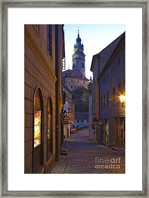 Old World Alley And Castle Framed Print by David Buffington