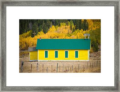Old Yellow School House With Autumn Colors Framed Print by James BO  Insogna
