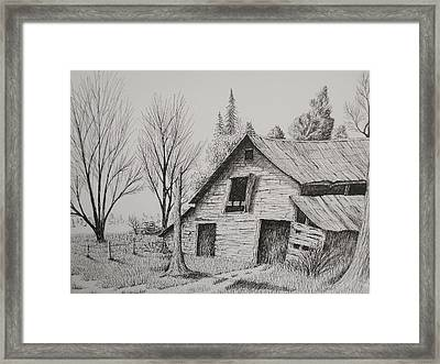 Olde Barn With Truck Framed Print by Chris Shepherd