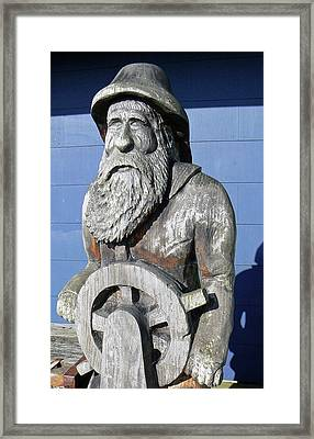 Olde Fisherman Chainsaw Carving Framed Print
