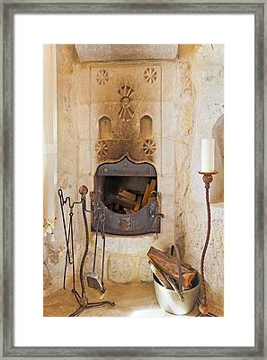 Olde Worlde Fireplace In A Cave  Framed Print