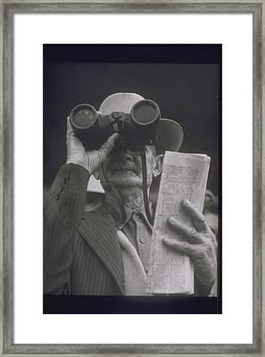 Older Man At Race Track, 1950s Framed Print