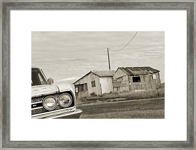 Olds Cutlass 63 Headlights And Huts Bw Framed Print by Philippe Taka