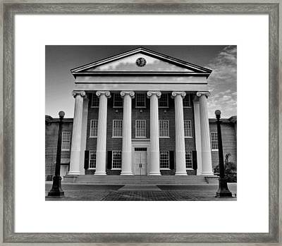 Ole Miss Lyceum Black And White Framed Print