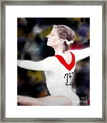 Olga Korbut Performing At The 1972 Summer Olympics In Munich Framed Print by Jim Fitzpatrick