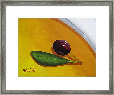 Olive In Olive Oil Framed Print by Kayleigh Semeniuk