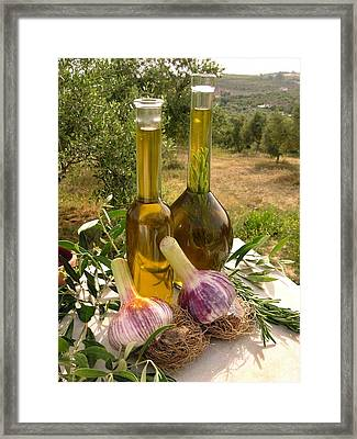 Olive Oil And Garlic Framed Print by Tony Craddock
