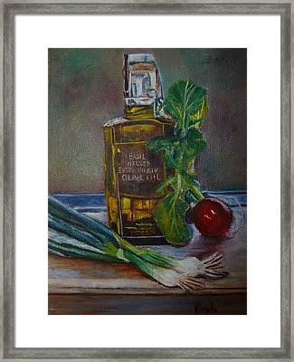 Olive Oil With Onions And Radish Framed Print by Virgilla Lammons
