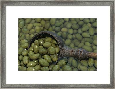 Olives Being Processed In Provence Framed Print
