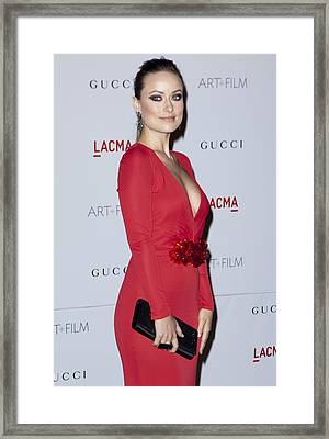 Olivia Wilde Wearing A Gucci Dress Framed Print