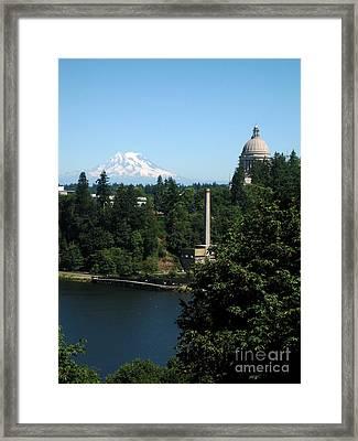 Olympia Wa Capitol And Mt Rainier Framed Print