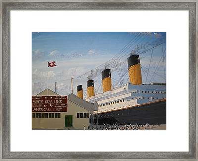 Olympic At Ocean Dock Framed Print by James McGuinness