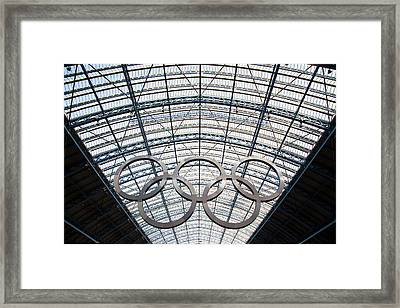 Olympic Rings At St. Pancras Framed Print