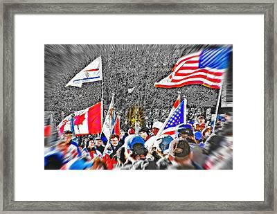 Olympic Torch Rally Snapshot - Slc 2002 Framed Print by Steve Ohlsen
