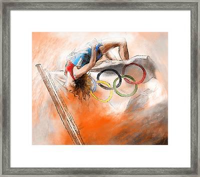 Olympics High Jump Gold Medal Ivan Ukhov Framed Print by Miki De Goodaboom