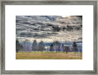 Ominous Skies At The Park Framed Print