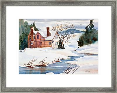 On A Winters Day Watercolor Painting Framed Print by Michelle Wiarda