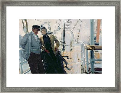 On Deck Framed Print by Louis Anet Sabatier