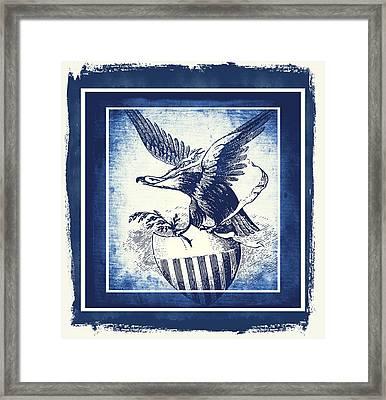 On Eagles Wings Blue Framed Print
