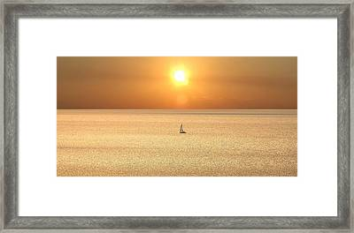 Framed Print featuring the photograph On Golden Seas by Renee Hardison