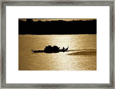 On Golden Waters Framed Print