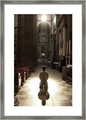 On My Knees In Prayer Framed Print by Rick Wolfryd