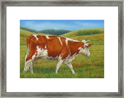 Framed Print featuring the pastel On The Moove by Margaret Stockdale