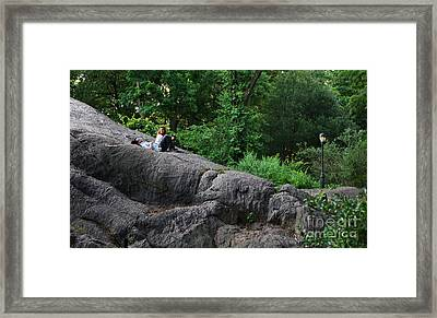 On The Rocks In Central Park Framed Print