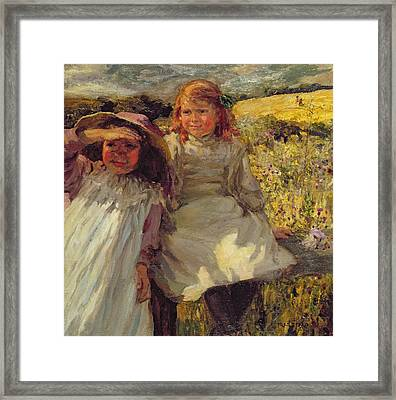 On The Stile Framed Print by Frederick Stead