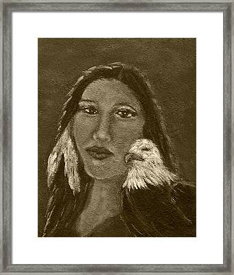 Onawa Native American Woman Of Wisdom With Eagle In Sepia Framed Print by The Art With A Heart By Charlotte Phillips