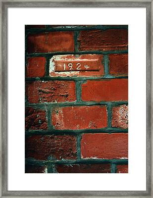 One Brick To Remember - 1924 Date Stone Framed Print by Steven Milner