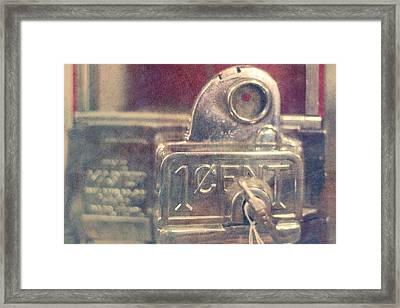 One Cent Candy Machine Framed Print by Toni Hopper